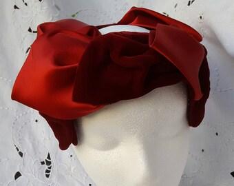 Vintage Red Velvet and Satin Hat 1950's Easter Bonnet