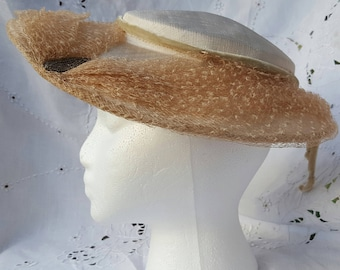 Ivory Vintage Silk, Velvet and Lace Hat with Glass Beads
