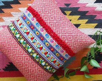 Red Boho Pillow Decorative Cushion Ethnic - Geometric Tribal Boho Throw Pillow Cover