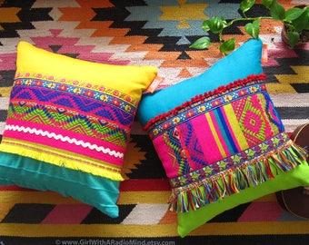 Decorative Throw Pillows - Set of 2 - Boho Mexican Colourful Unique Home Decor