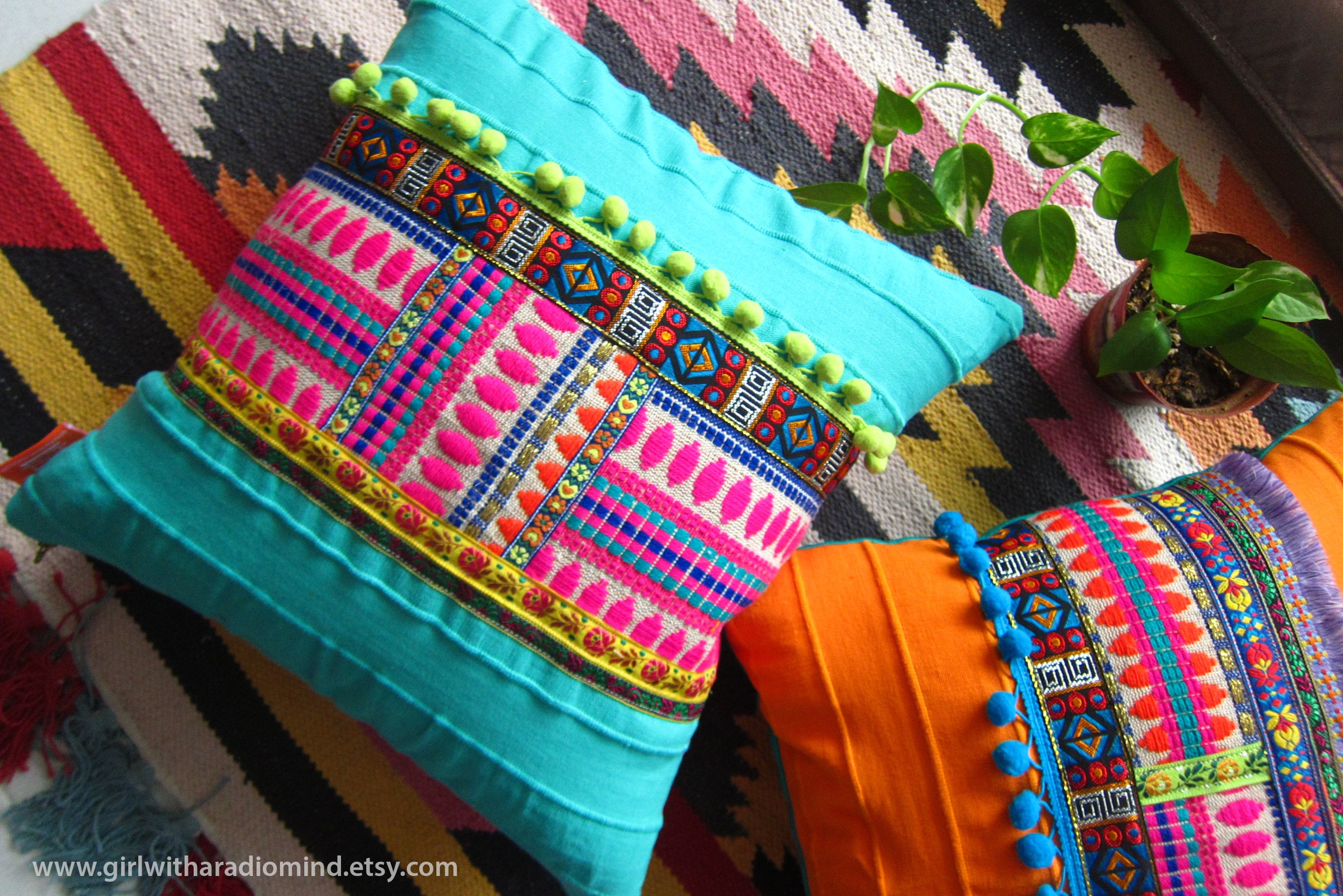 Boho Throw Pillow Turquoise Bohemian Colorful Gypsy Cushion Cover Home Deco