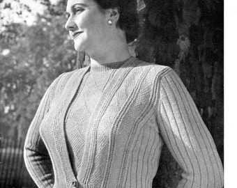 5526cb25dad Plus Size Volup Diamond and Rib Twin Set Jumper Cardigan 40 to 42 Bust  Patons 530 Vintage 1940s Knitting Pattern