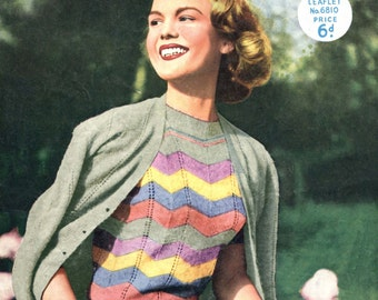 1257e28b7ce08 Great 1950s Candy Striped Jumper and Cardigan Twin Set to 34 to 36 Bust Munrospun  6810 Vintage Knitting Pattern