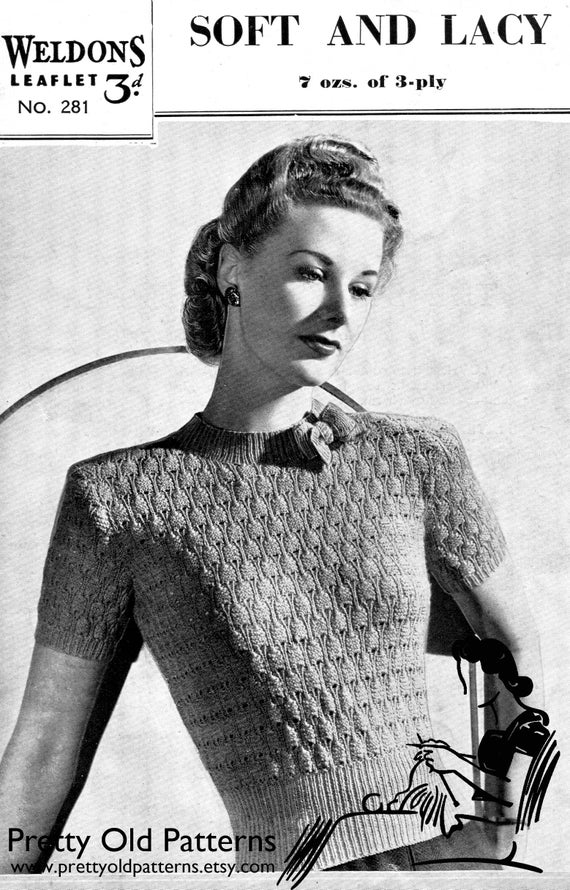 27f56a6caf Perfect 1940s Jumper Lace with a Bow 33 to 35 Bust