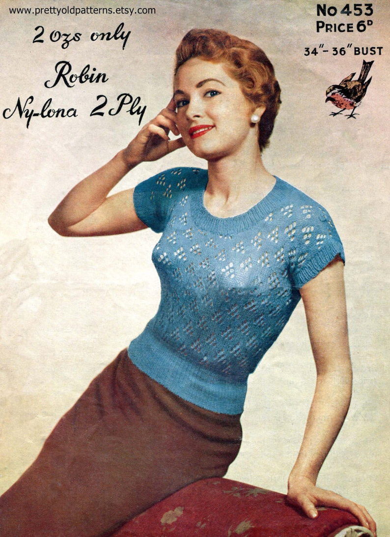 0e8539b1362 Light and Lacy 1950s Ladies Jumper Blouse 34 to 36 Bust Robin 453 Vintage  Knitting Pattern Download
