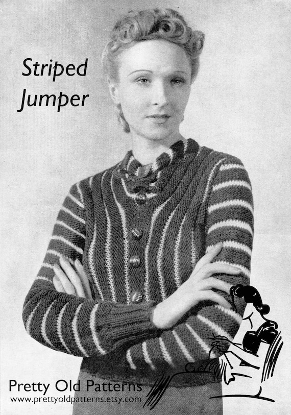 6660bc1781e89 Wonderful Late 1930s Striped Jumper in 2 Weights 34 to 38 Bust