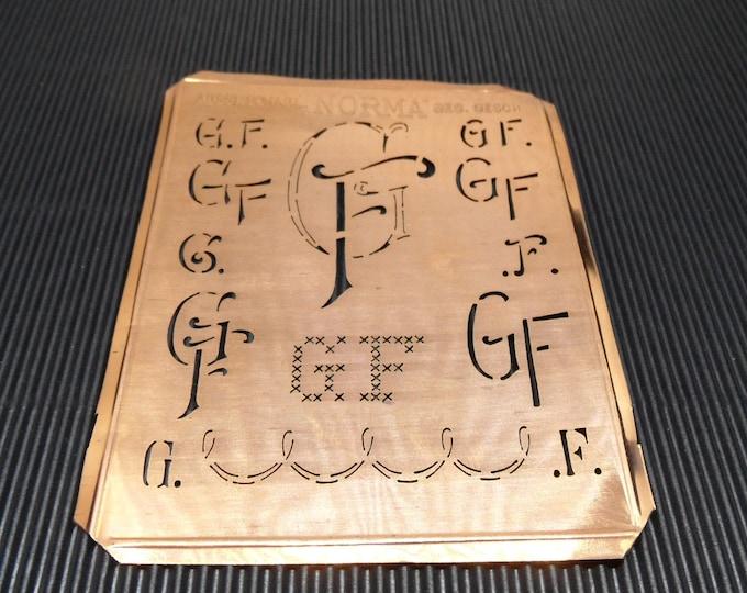 GF Monogram Antique German Copper Stencil-4inX3in.-Antique Fabric Stencil-Sheet Monogram Stencil-Free Registered Shipping