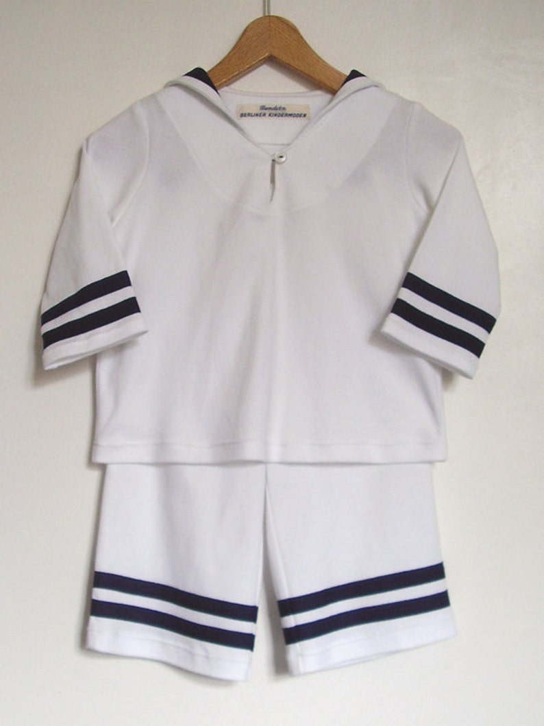 Shirt and Pants,Maritime Baptism,Family Cotton Jersey Cosy Two-Piece White Sailor Baby Suit With Navy-Blue Stripes BABY SUIT AHOI