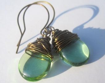 Peridot Earrings Tear Drop Earrings August Birthstone Earrings Wire Wrapped Jewelry Handmade Peridot Jewelry