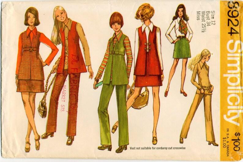 5f3ea0186 Vintage Vest Mini-Skirt Blouse and Pants Sewing Pattern   Etsy