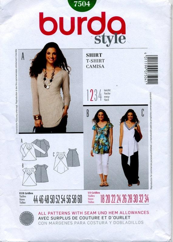 Shirt In Three Styles Burda Sewing Pattern Burda 40 Size Etsy Impressive Burda Sewing Patterns