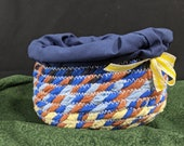 Oblong Fabric Coil Trinket Bowl with Fabric Liner and Yellow Ribbon