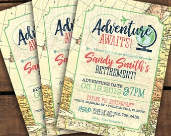 travel theme invite etsy