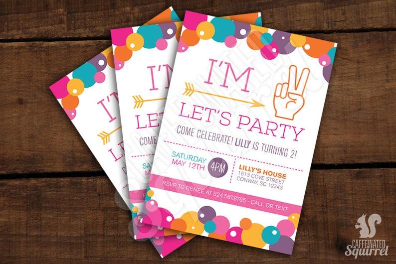 Im 2 Lets Party Invitations Girly Birthday