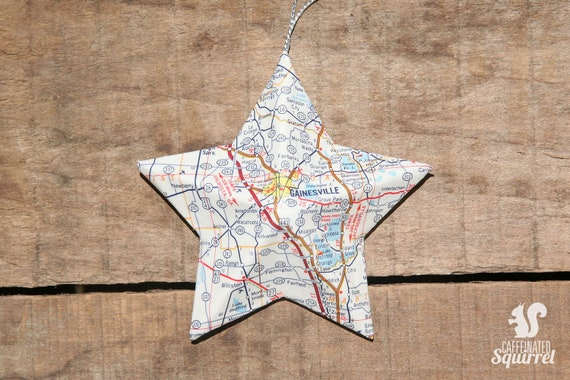Gainesville Florida Vintage Map Covered Star Ornament Fl Etsy