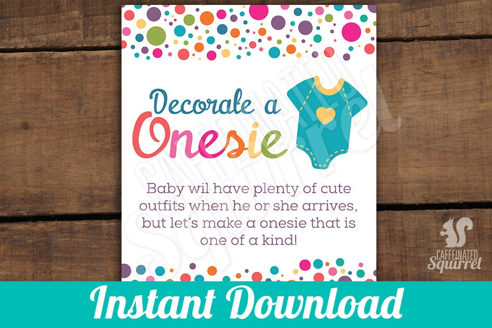 0ba3b4bd98977 Decorate a Onesie Sign, Perfect for Baby Showers, Polka Dot, Rainbow,  Sprinkled with Love, Outfit, Gender neutral, One of a kind