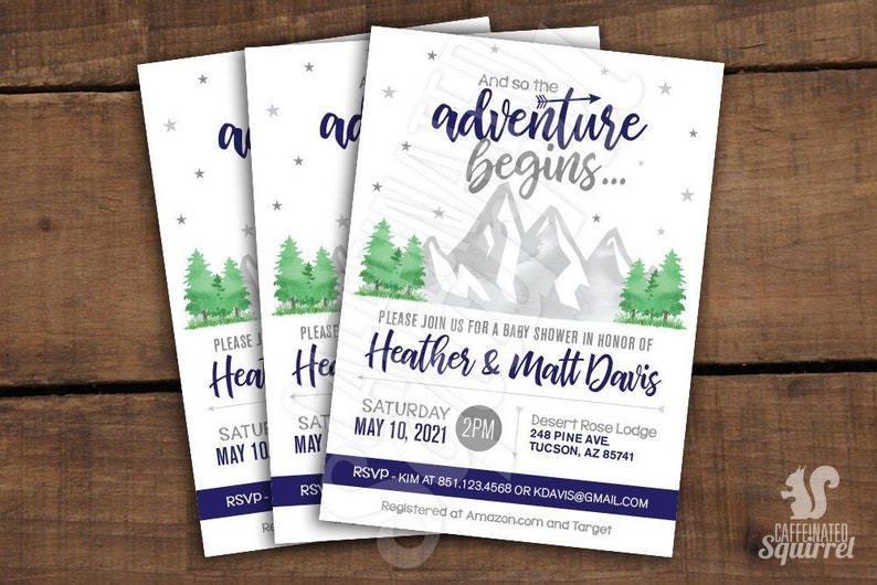 And so the Adventure Begins...  Baby Shower Invitations  image 0