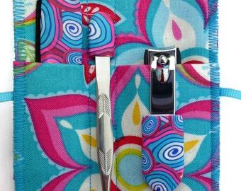 Blue Pink Floral: 5-Piece Deluxe Manicure Set