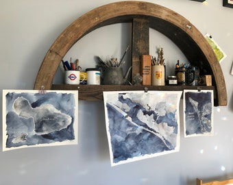 """Gallery Trio of Indigo and Gray Map Paintings, one each 16x20"""", 11x14"""", and 9x12"""" of your favorite places to display together"""