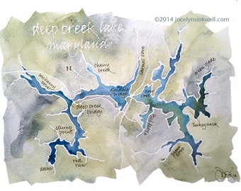 CUSTOM Watercolor Map of Your Favorite Lake, Bay, or Island, with Personalized Calligraphy 9x12