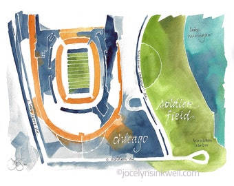 Soldier Field, home of the Chicago Bears, Illinois, 8x10 giclee print from original watercolor painting