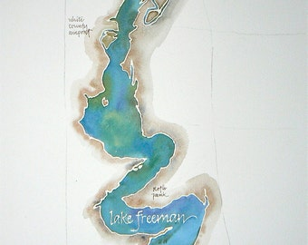 Grand Scale, CUSTOM Watercolor Map of Your Favorite Lake, Bay, or Beach 14x20, 16x20, or 18x24 in