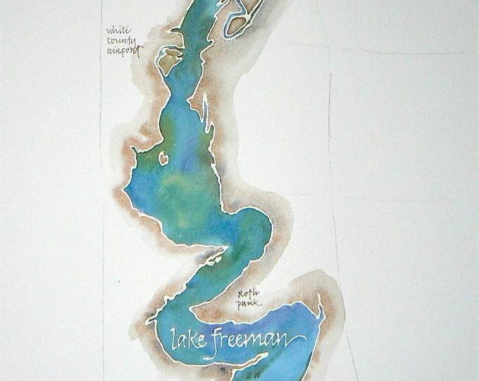 Featured listing image: Grand Scale, CUSTOM Watercolor Map of Your Favorite Lake, Bay, or Beach 14x20, 16x20, or 18x24 in