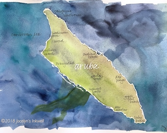 Aruba, Caribbean Island, watercolor map, original painting with calligraphy 11x14""