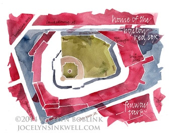 Boston Red Sox Fenway Park, giclee print from original watercolor painting, 8x10