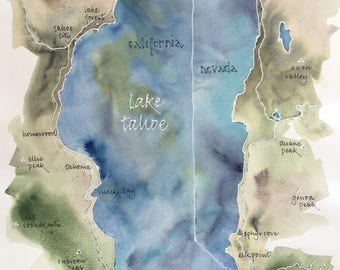 Watercolor Map of Lake Tahoe, original, signed 14x20 in. painting