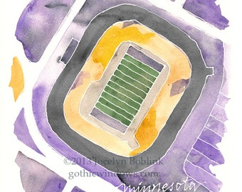 CUSTOM Football Stadium Watercolor Map of Your Favorite Field in Sports Team Colors