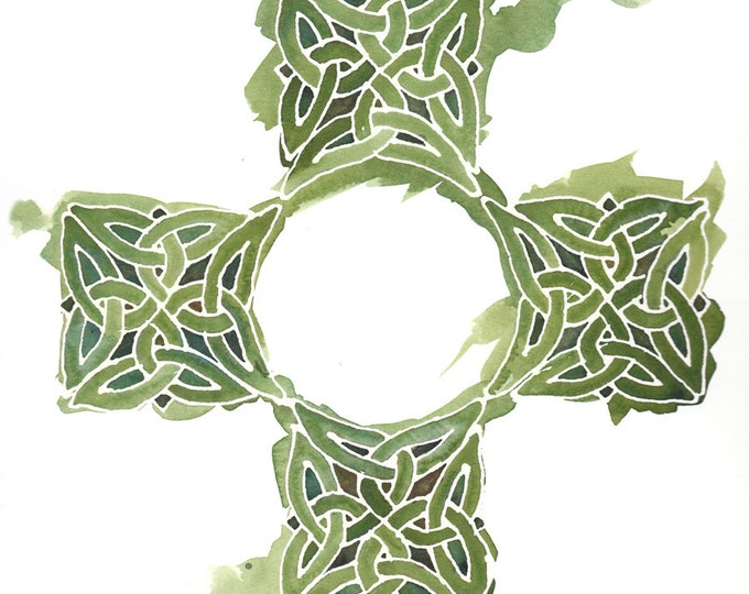 Featured listing image: Celtic Cross in Emerald Green, 8x10 inch giclee print from original watercolor
