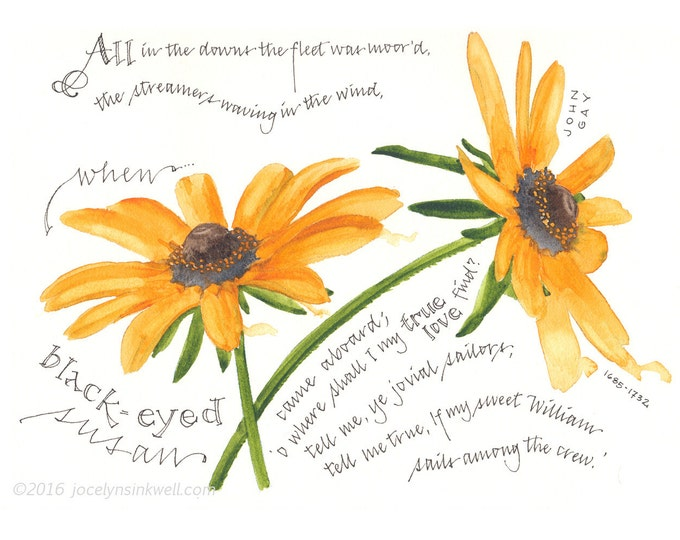Featured listing image: Black-eyed Susan, poem giclee print from original watercolor painting, 8x10