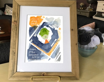 "Minute Maid Park, home of the Houston Astros. 8x10"" signed giclee print from original watercolor painting"