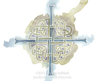 Celtic Cross in Sage and Blue, 8x10 inch giclee print from original watercolor