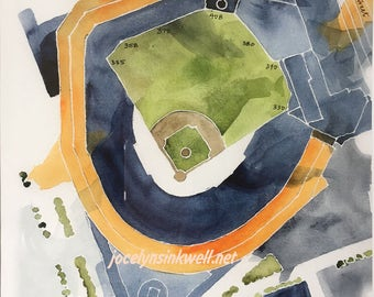 Citi Field, home of the New York Mets, 8x10 giclee print from original watercolor painting