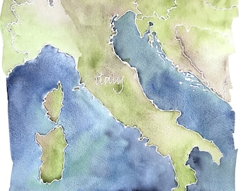 Italy, a watercolor map, original painting 11x14""
