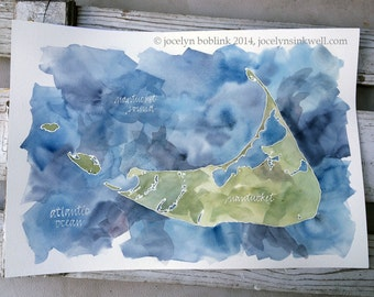 Island Map, Grand Scale, CUSTOM Watercolor Painting of Your Favorite Lake, Bay, or Beach 16x20 or 18x24 in