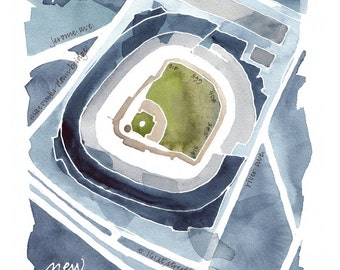 New York Yankee Stadium, giclee print from original watercolor painting, 8x10