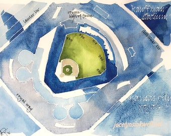 Kansas City Kauffman Stadium, Royals giclee print from original watercolor painting, 8x10