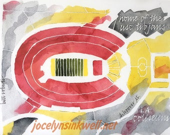 USC Trojan Football Stadium, California, 8x10 giclee print from original watercolor painting