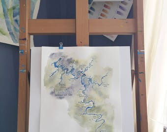 Watercolor Map of Center Hill Lake, TN, original, signed 14x20 in. painting