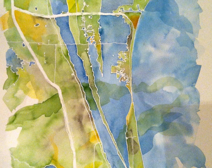 Featured listing image: Grand Scale, CUSTOM Watercolor Map of Your Lake, Island, or Beach 14x20 or 18x24 in