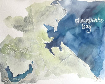 St. Michael's, Maryland, MD watercolor map, original painting 9 x 12""