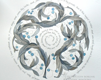 The Blossom by John Donne, original watercolor and calligraphy, excerpt, 16x16 in square
