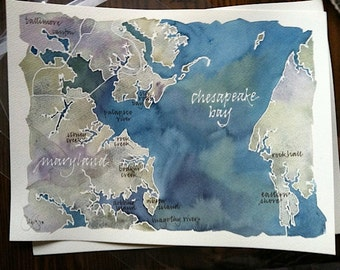 Lake Map of CUSTOM watercolor of Your Favorite Lake, Bay, or Island, hand-done calligraphy on original painting, 9x12 or 11x14 in.