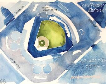 CUSTOM Baseball Stadium Watercolor Map of Your Favorite Ballpark in Sports Team Colors