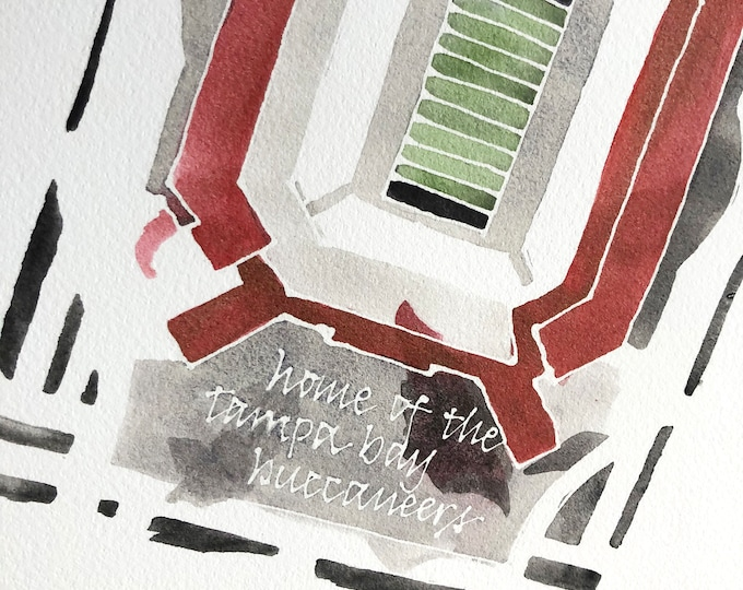 Featured listing image: Tampa Bay Buccaneers Raymond James football stadium, 8x10 giclee print from original watercolor painting
