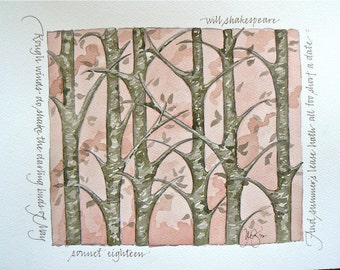 Shakespeare Sonnet 18 excerpt, numbered, signed watercolor 8x10 print giclee