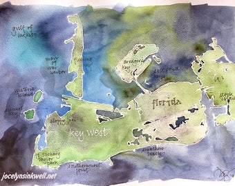 """Key West, Florida map, original signed watercolor 11x14"""" painting"""